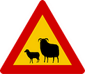 Warning for sheep on the road in Iceland