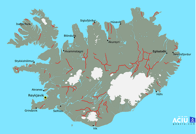 Map of F-Roads in Iceland